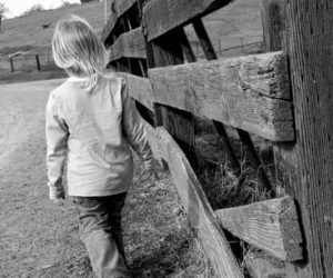 a young child walks beside a wooden fence on a farm